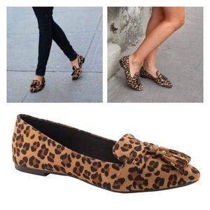Vegan Suede Leopard Flats